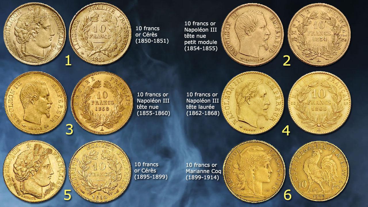 Principaux types de pièces de 10 francs or