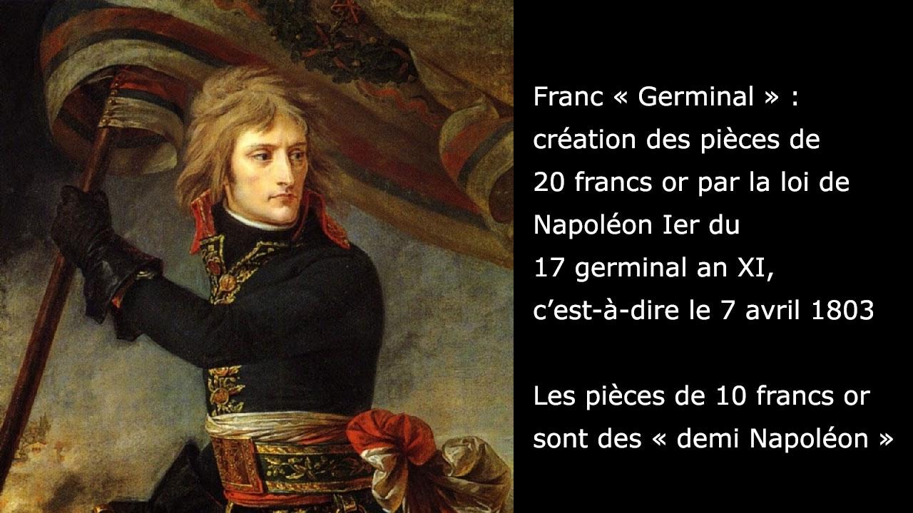 Les pièces de 10 francs or conformes au Franc Germinal de Napoléon