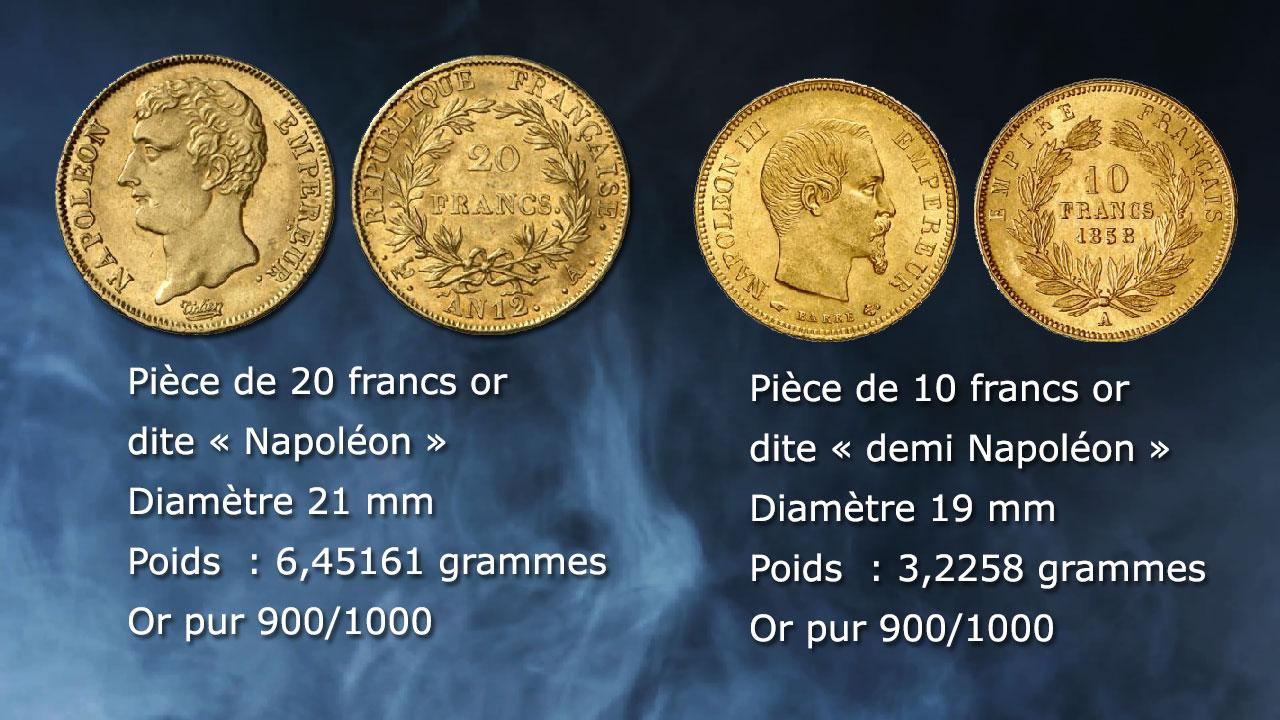 Napoléon de 20 francs or et demi Napoléon de 10 francs or