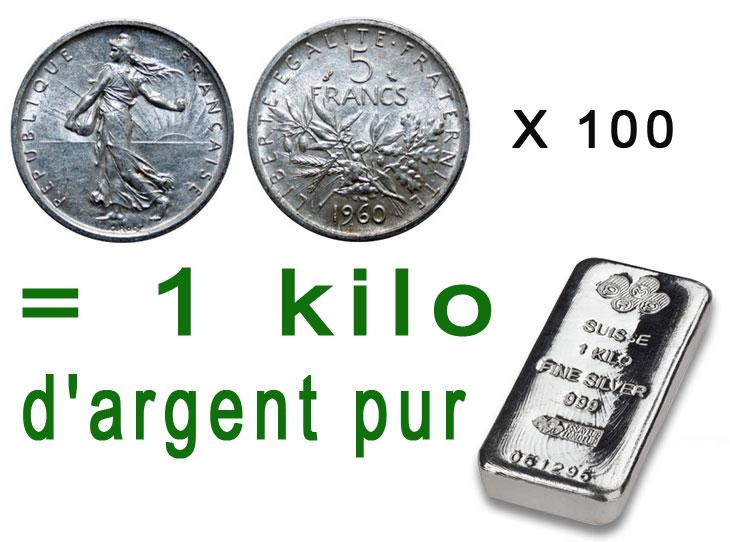 Combien de pièces de 5 francs argent Semeuse faut-il pour obtenir 1 kilo d'argent pur ?