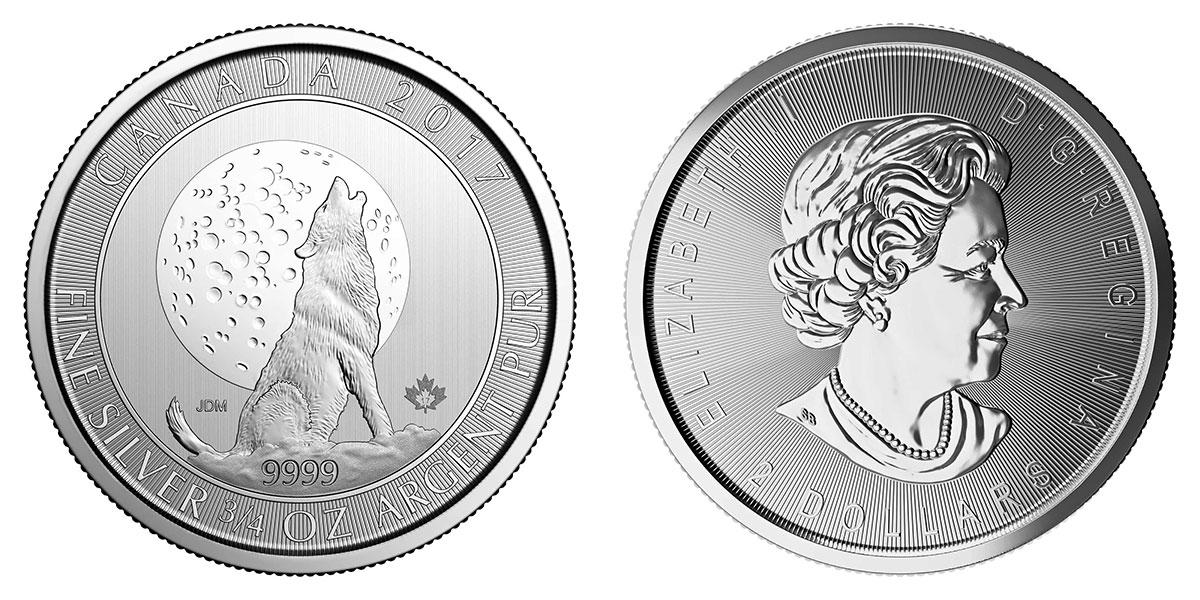 Pièce argent Canada 2 dollars 3/4 d'onces Loup hurlant sous la lune 2017