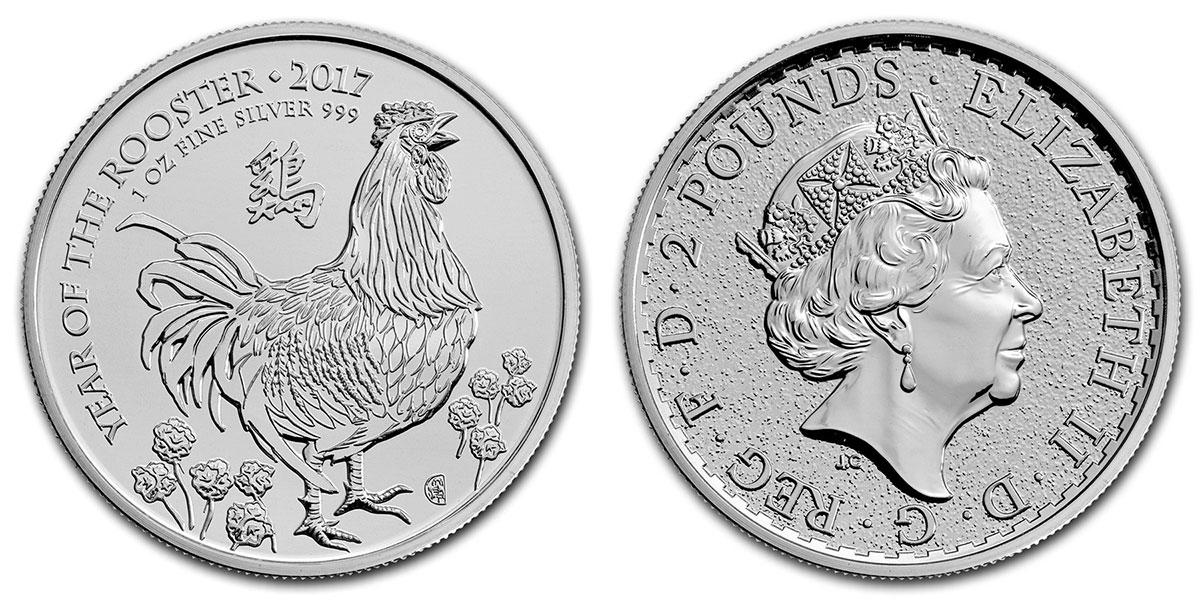 Pièce d'argent 1 once Grande Bretagne Lunar Coq 2017
