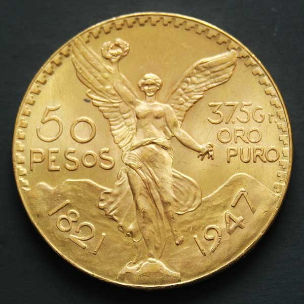 Avers d'une pièce d'or de 50 pesos du Mexique