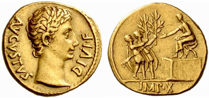 Pièce d'or : Empire Romain, pièce d'or d'Auguste