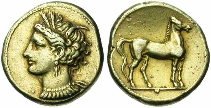 Pièce d'or : pièce d'or de Carthage, IVème-IIIème siècle avant JC
