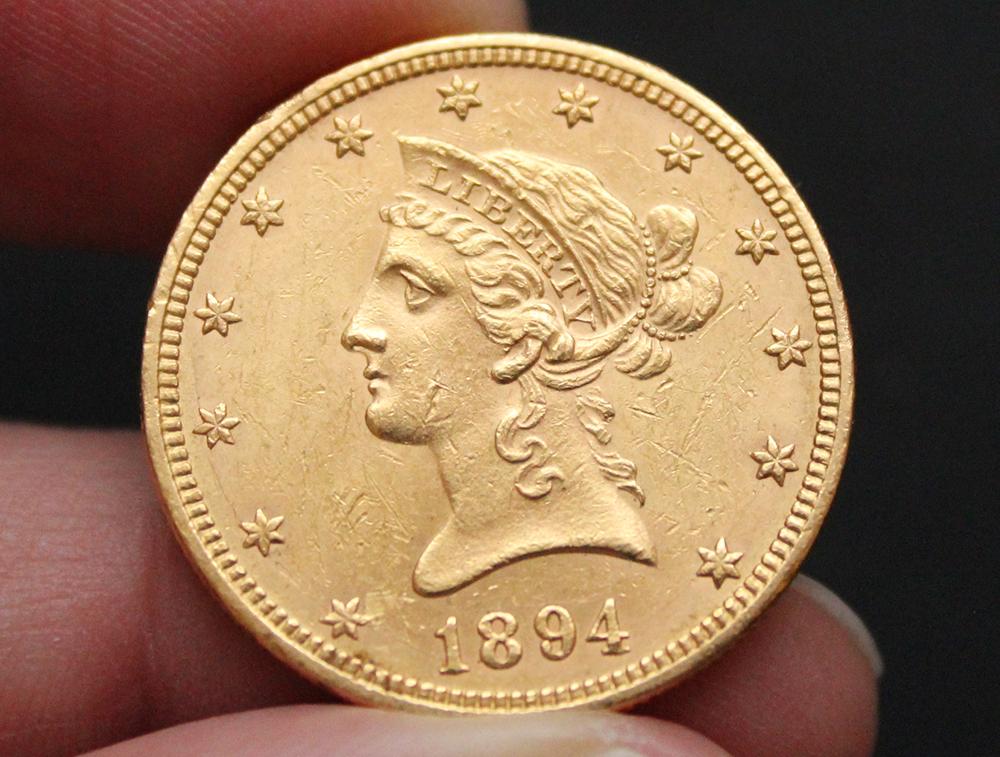 Une des pièces en vente : 10 dollars or USA 1894