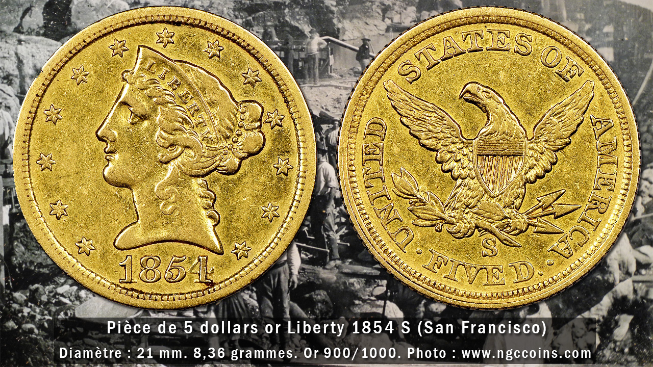 Photo de la pièce d'or de 5 dollars Liberty 1854 S (San Francisco) - Photo NGC