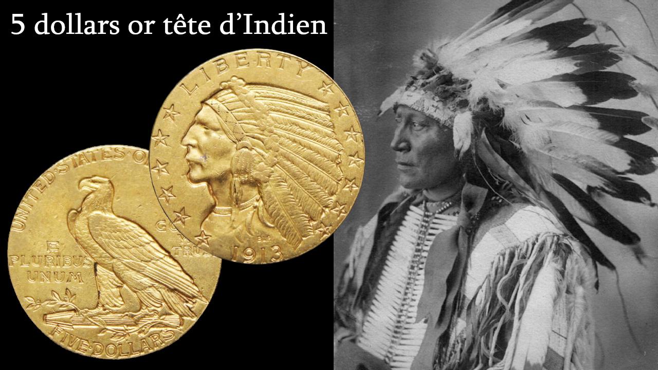 Portrait de Chief Hollow Horn Bear, l'indien qui aurait inspiré le portrait des pièces de 5 dollars tête d'indien