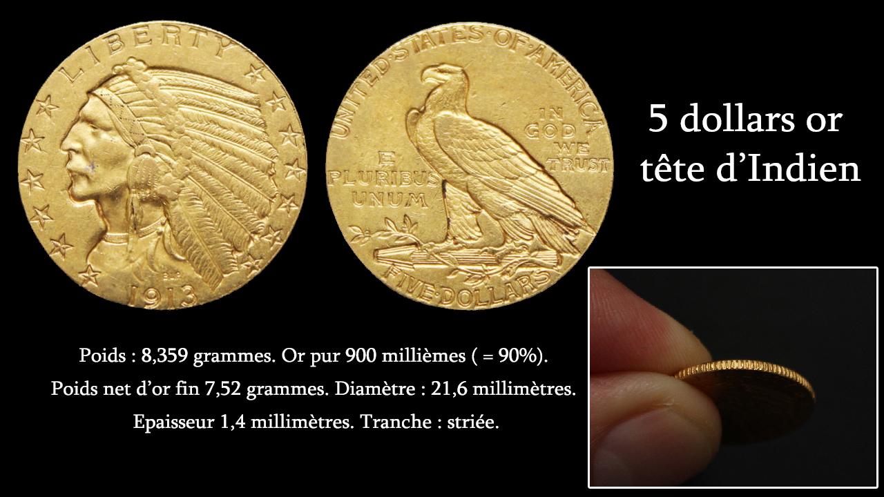 Caractéristiques techniques des pièces d'or 5 dollars tête d'indien