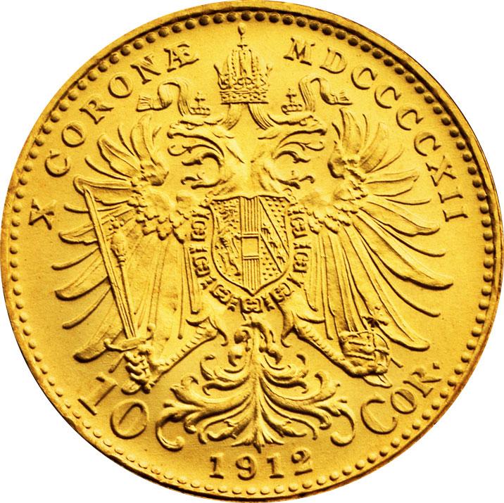 10 couronnes or Autriche revers