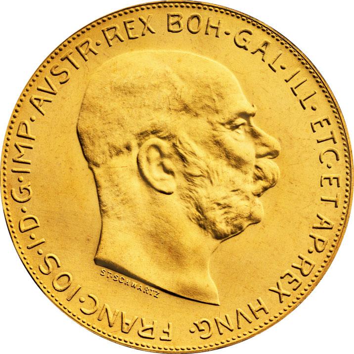 100 couronnes or Autriche avers