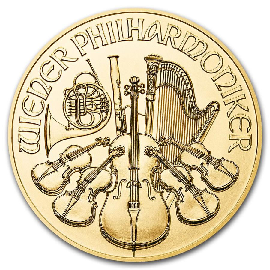 1/10eme d'once d'or Philharmonique de Vienne revers