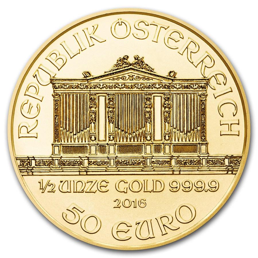 1/2 once d'or Philharmonique de Vienne avers