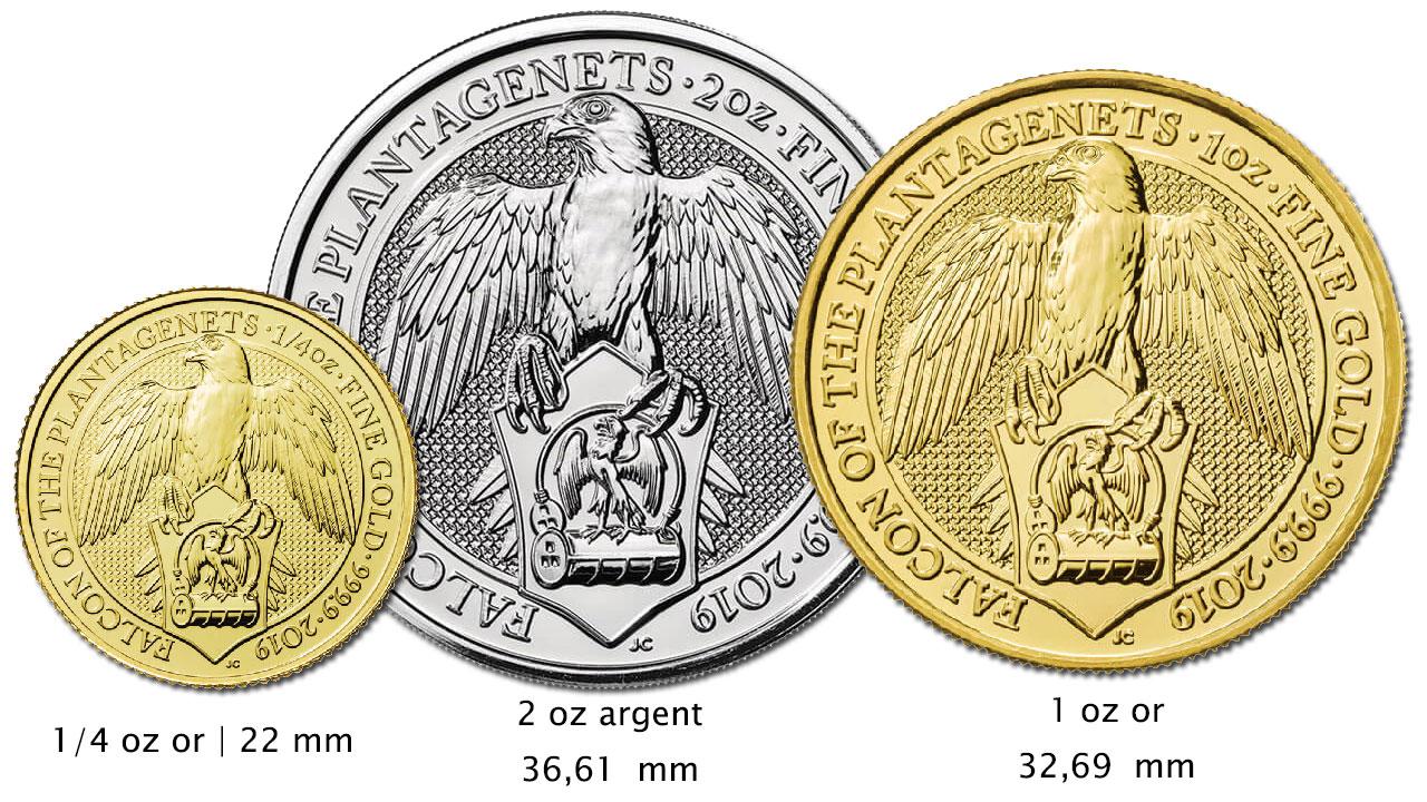 3 nouvelles pièces d'or et d'argent de la Série Queen's Beasts : le Faucon des Plantagenêts