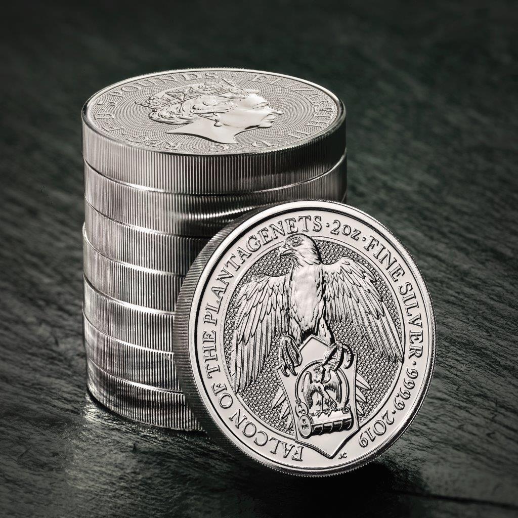 Pièce d'argent de 2 onces Faucon des Plantagenêts