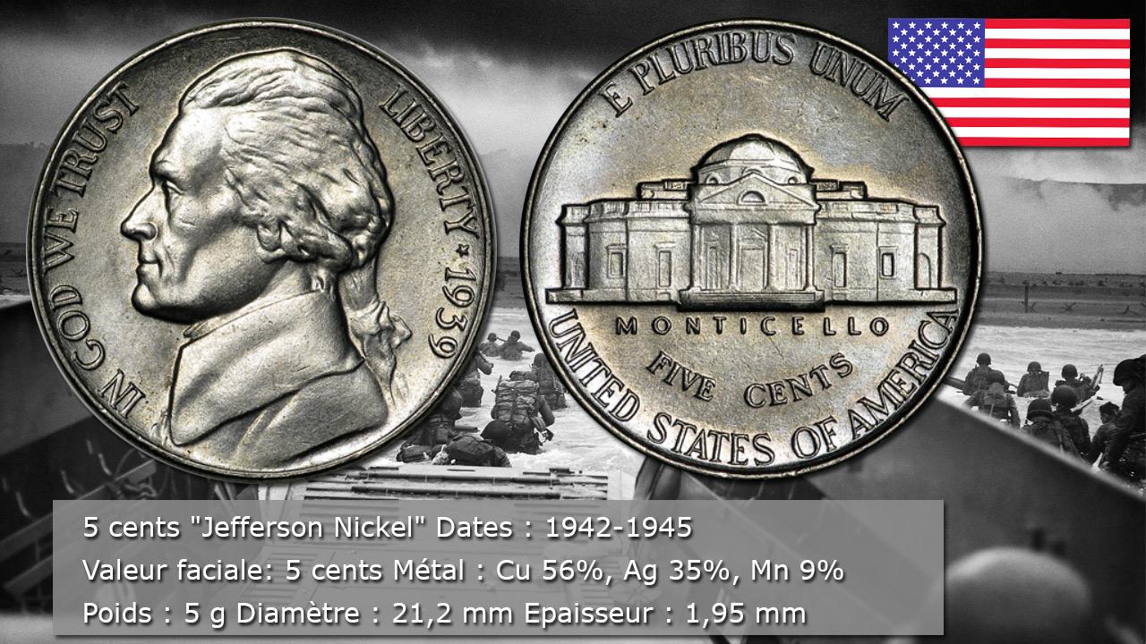 Pièce 5 cents Jefferson