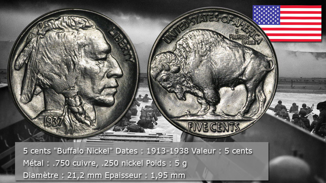 Pièce 5 cents Buffalo Nickel