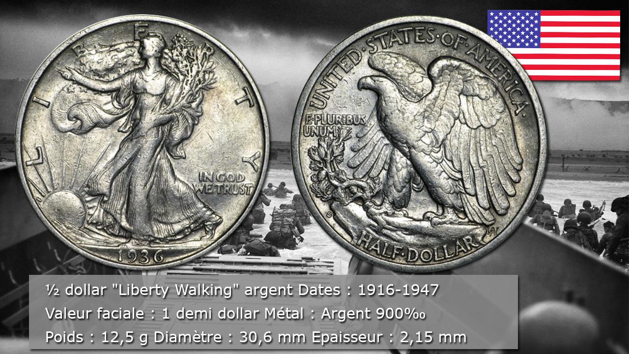 Demi dollar Liberty Walking