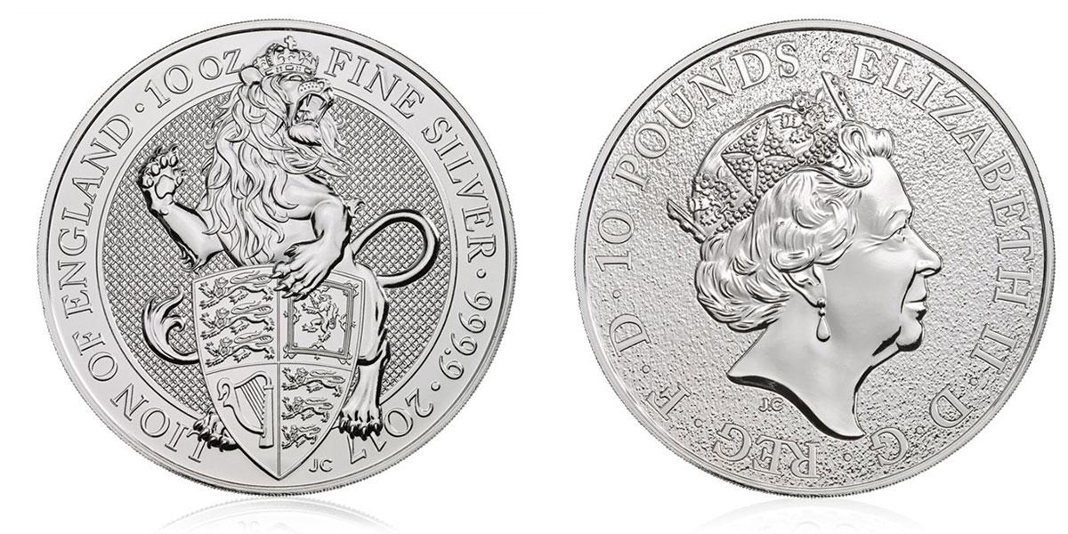 Pièce argent Royaume Uni 10 livres Sterling 10 onces Queen's Beasts 2017