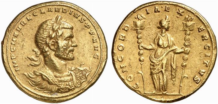 Exemple de médaillon d'or frappé sous Claude II