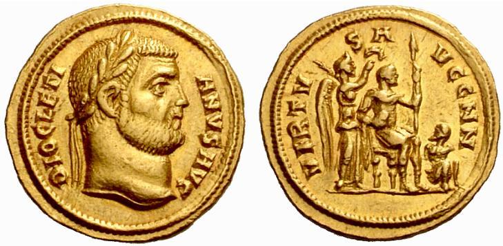 Exemple d'aureus de Dioclétien