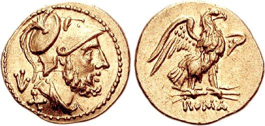 ette deuxième monnaie d'or est moins exceptionnelle que la première par son type mais reste très intéressante. Monnaie anonyme frappée en 211-208 avant JC. 60 As (3.36 grammes). Photo CNG