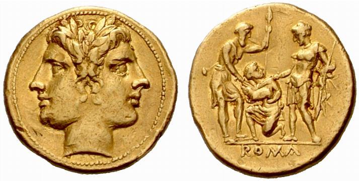 La première monnaie romaine en or