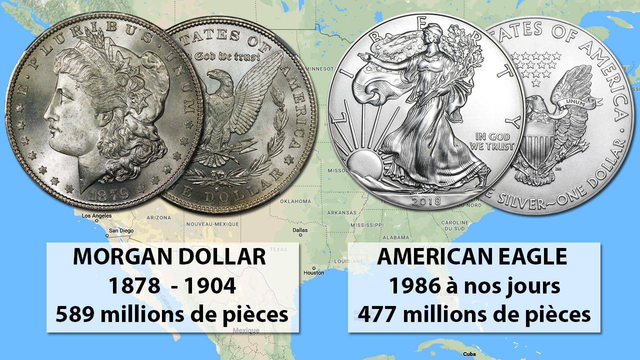 Comparaison de la production de pièces Morgan dollar et Silver Eagle