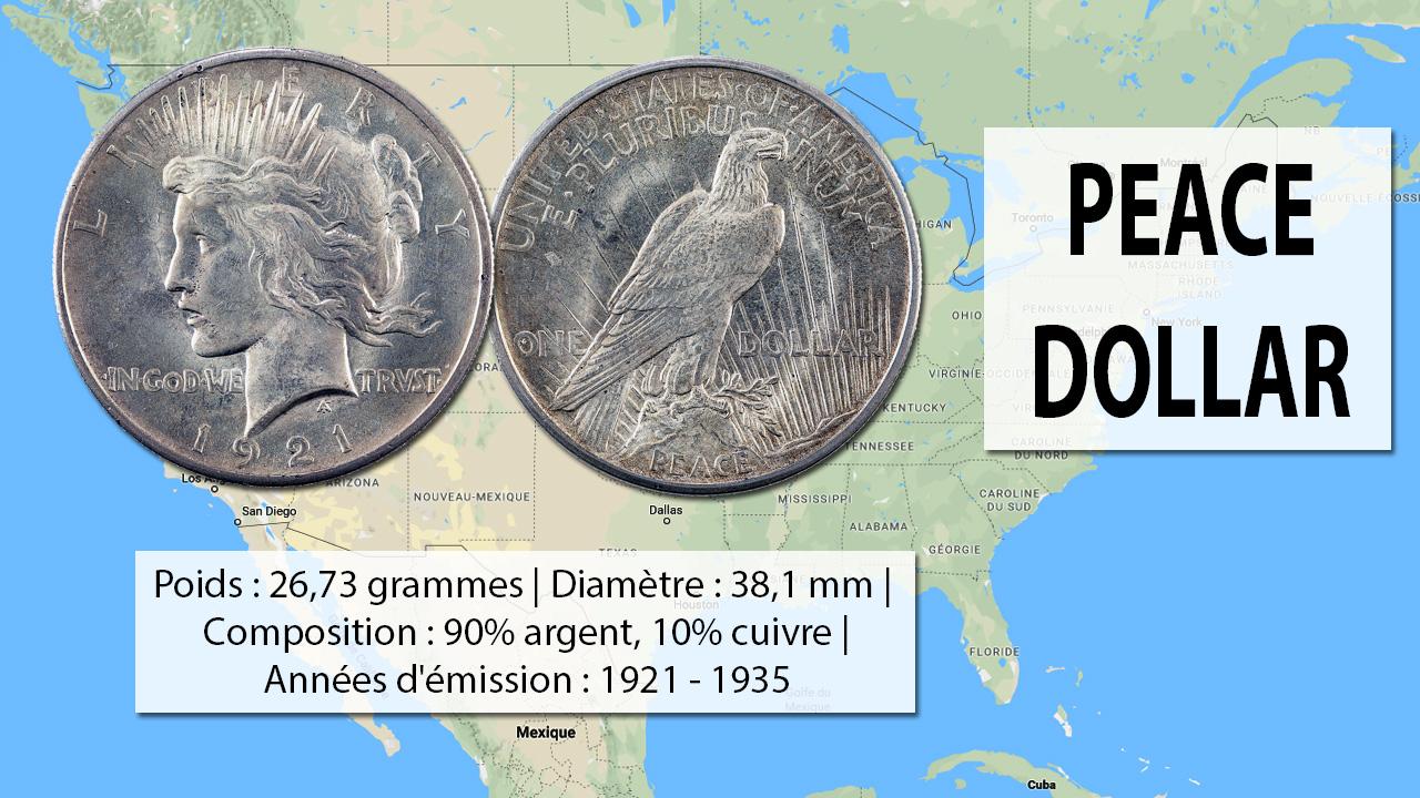 Exemple de pièce de 1 dollar Peace dollar