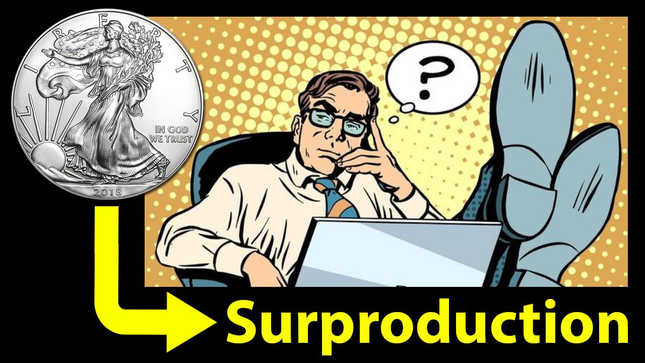 Y a-t-il surproduction de pièces d'argent américaines 1 dollar American Eagle ?