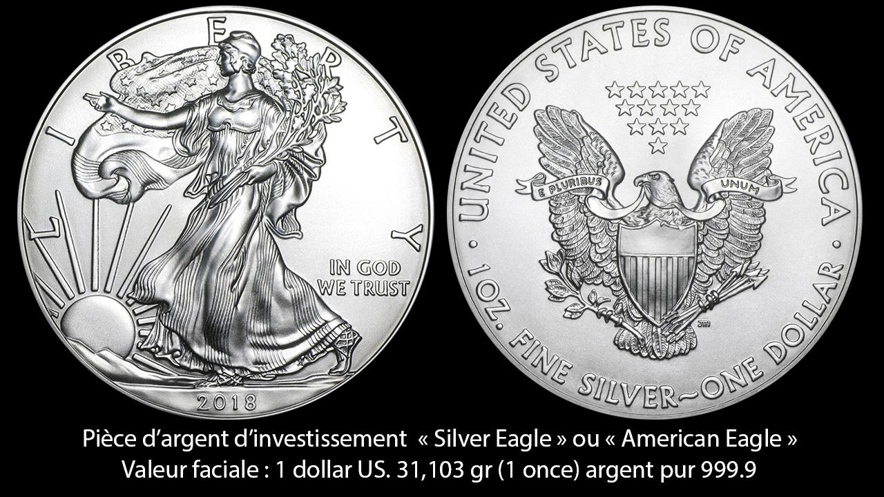 Photo d'une pièce américaine 1 dollar Silver Eagle