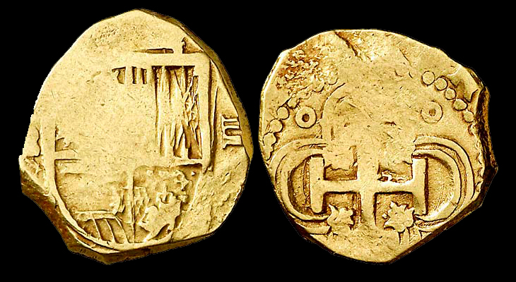 Double escudo en or. Monnaie espagnole du XVIIème siècle