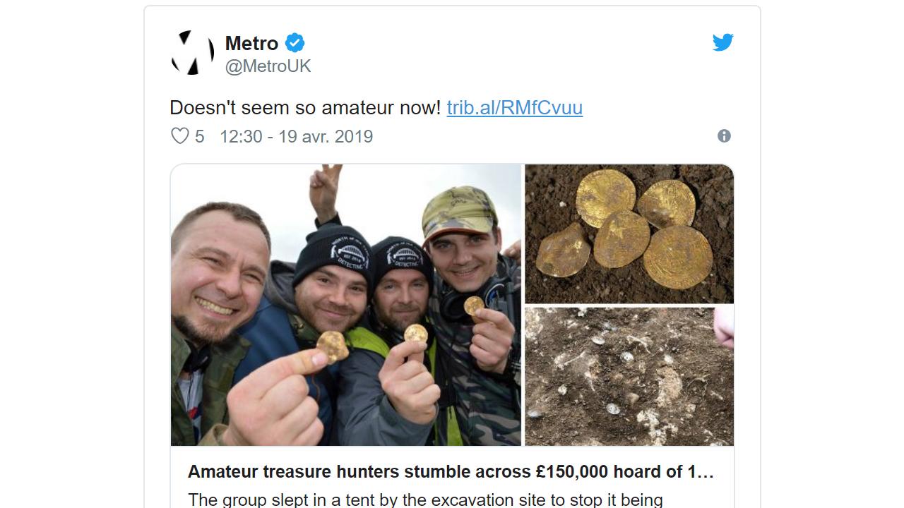 Les 4 hommes ont découvert le trésor lors d'une chasse au trésor