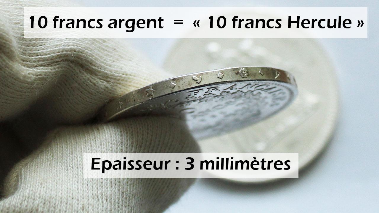 Epaisseur des pièces de 10 francs argent