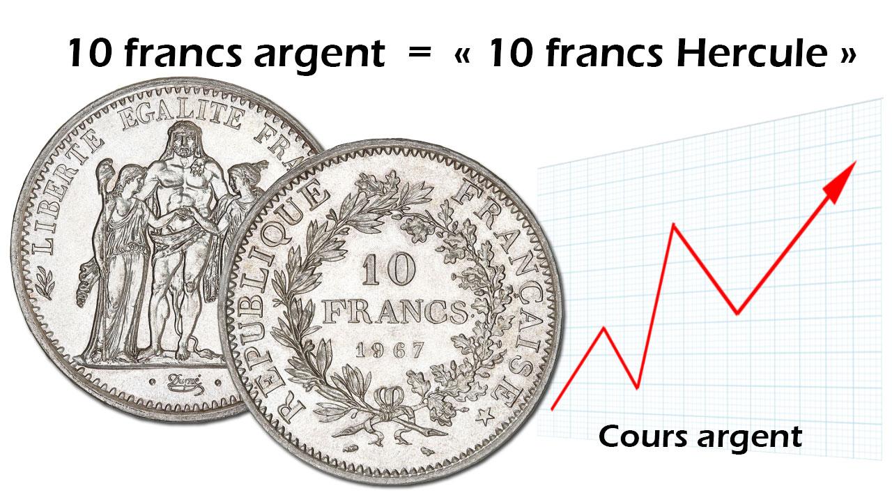 La valeur des pièces de 10 francs argent dépend du cours des métaux précieux