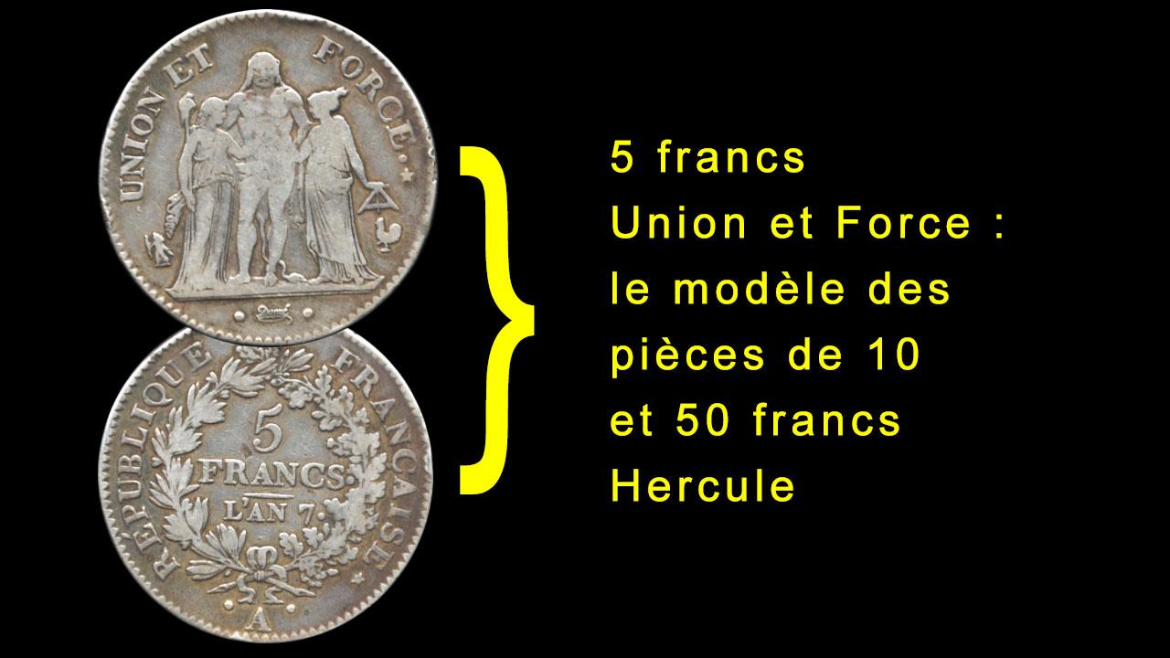 Origines des pièces de 10 francs Hercule : les pièces de 5 francs Union et Force de Dupré