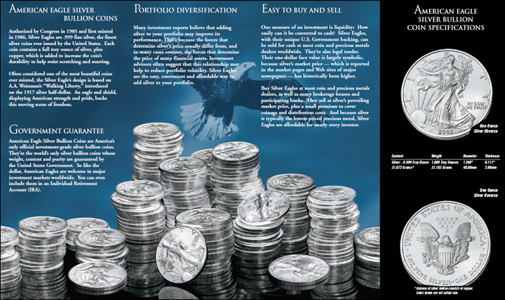 American Silver Eagle : capture d'écran de la brochure publicitaire de la Monnaie US qui présente les pièces d'argent d'une once