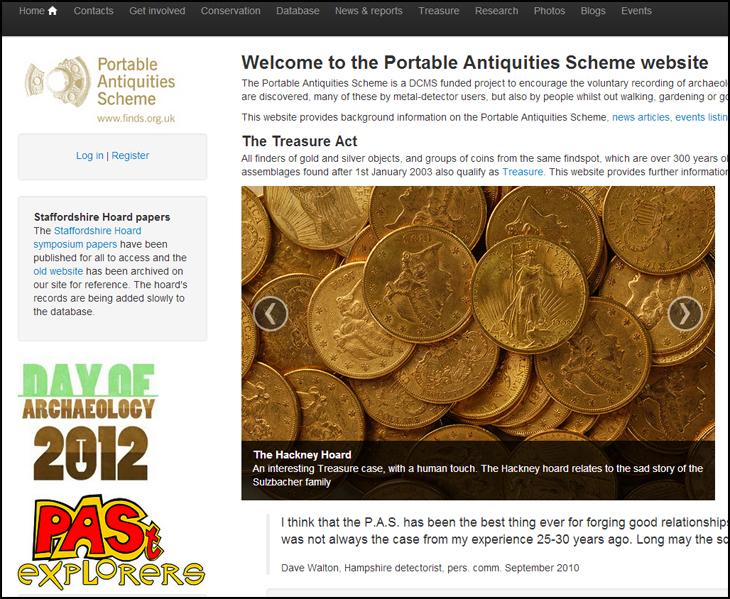 Page d'accueil du Portable Antiquities Scheme charge de l'inventaire des trouvailles archéologiques