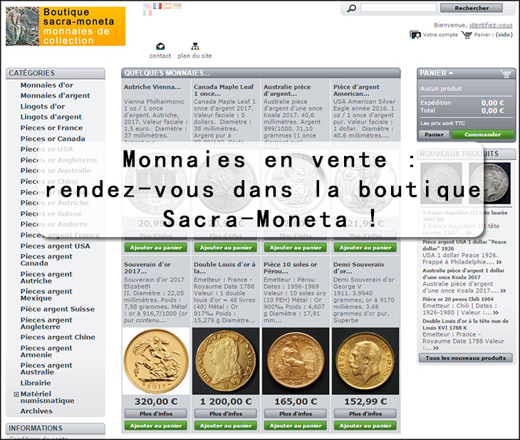 Capture d'écran de la boutique sacra-moneta, entièrement consacrée aux collectionneurs de monnaies anciennes !