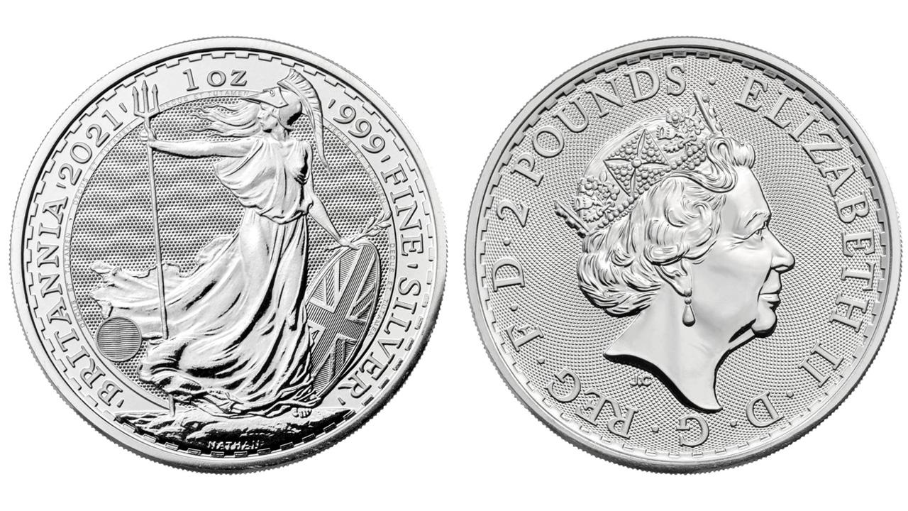 Photo d'une pièce d'argent Britannia 2021