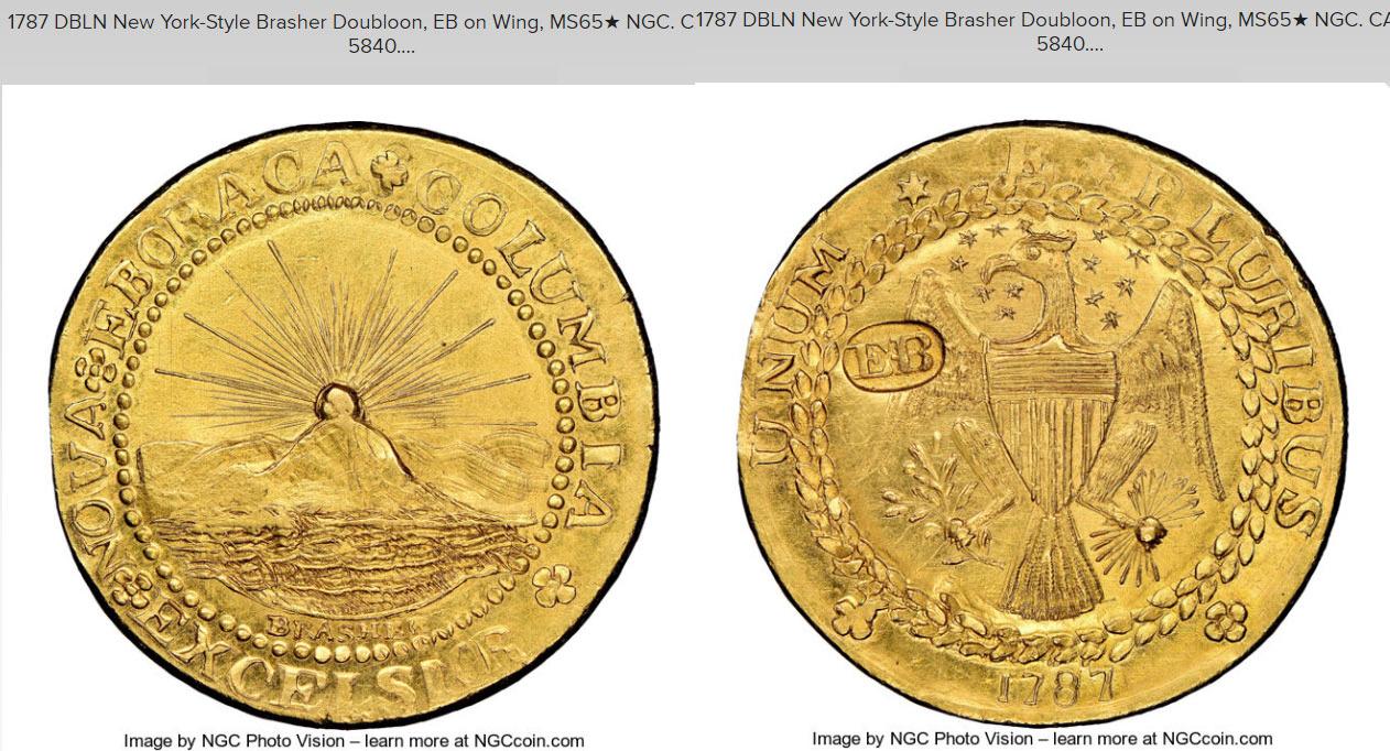 n°1 :doublon d'or de Brasher frappé en 1787
