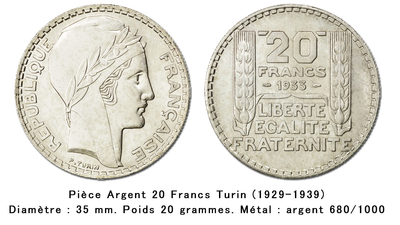 Pièces française en argent de type 20 francs Turin