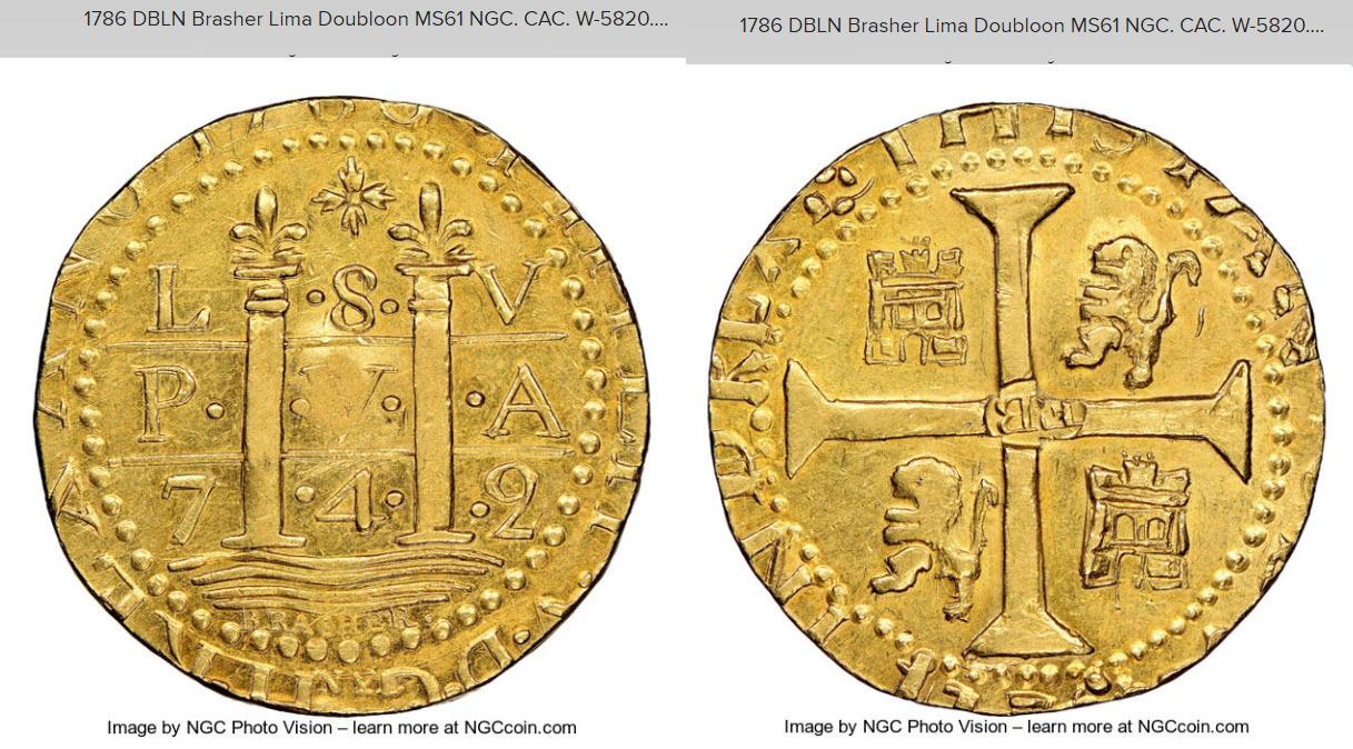 n°4 :doublon d'or de Brasher frappé en 1786