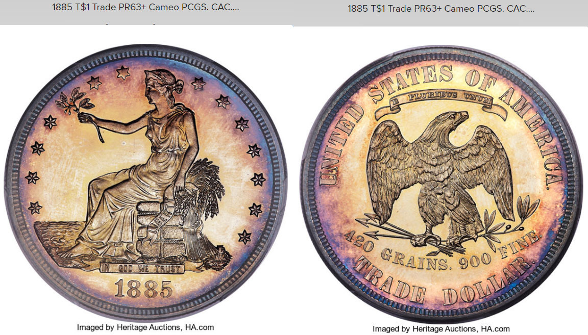"n°5 :1 dollar dite ""Trade dollar"" 1885"