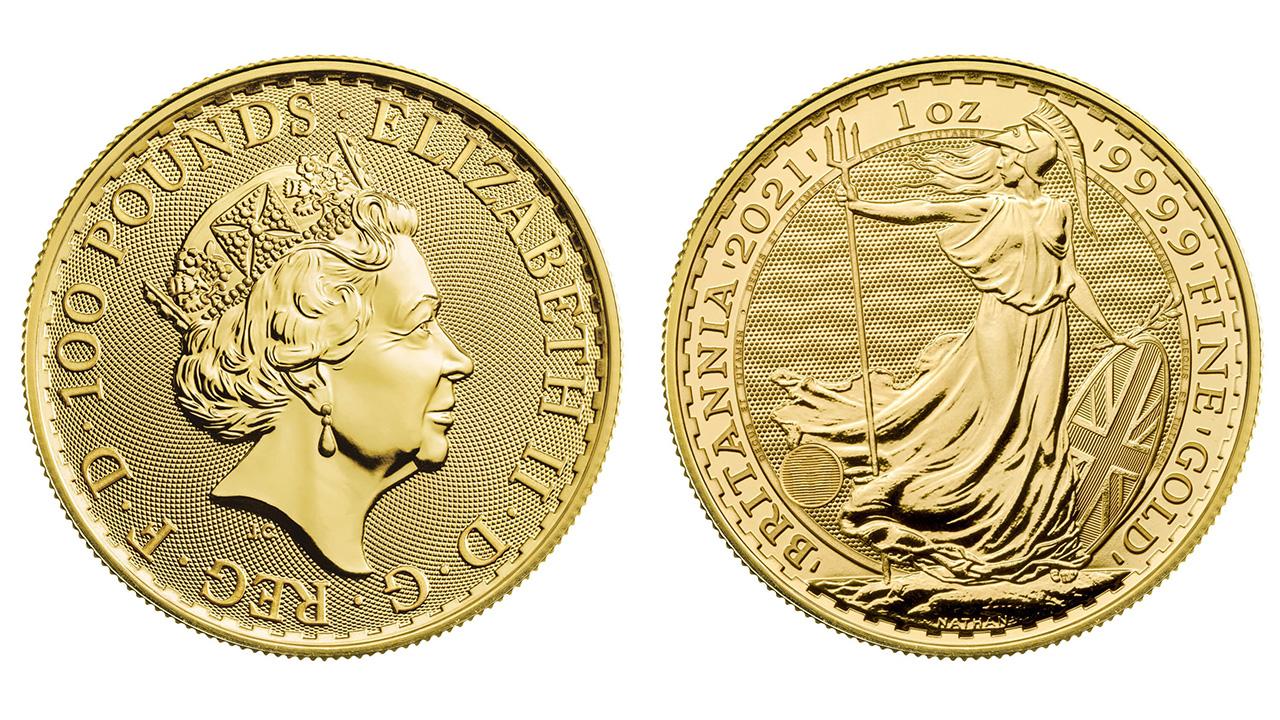 Photo d'une pièce d'or d'une once Britannia 2021