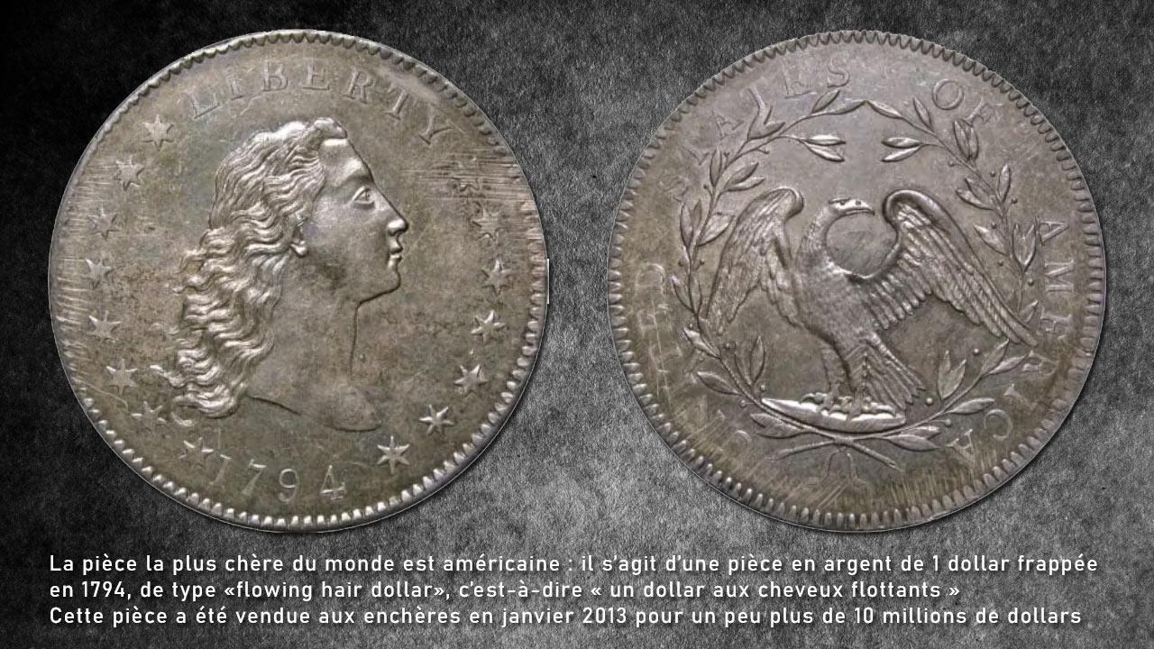 Photo de la pièce la plus chère du monde, la pièce américaine de 1 dollar flowing hair