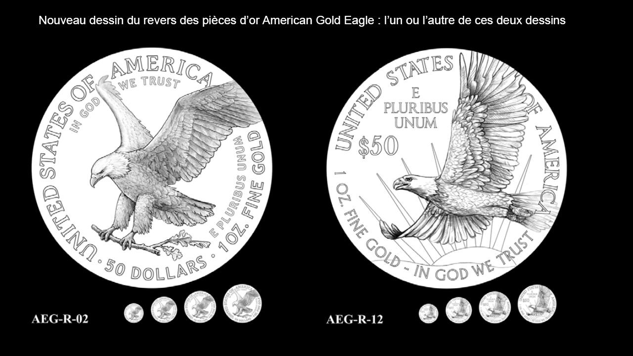 Dessin du revers des nouvelles pièces d'or American Gold Eagle