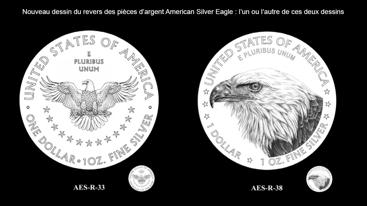 Dessin des nouvelles pièces d'argent American Silver Eagle