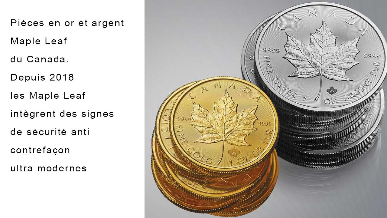 Pièces d'or et d'argent Maple Leaf du Canada