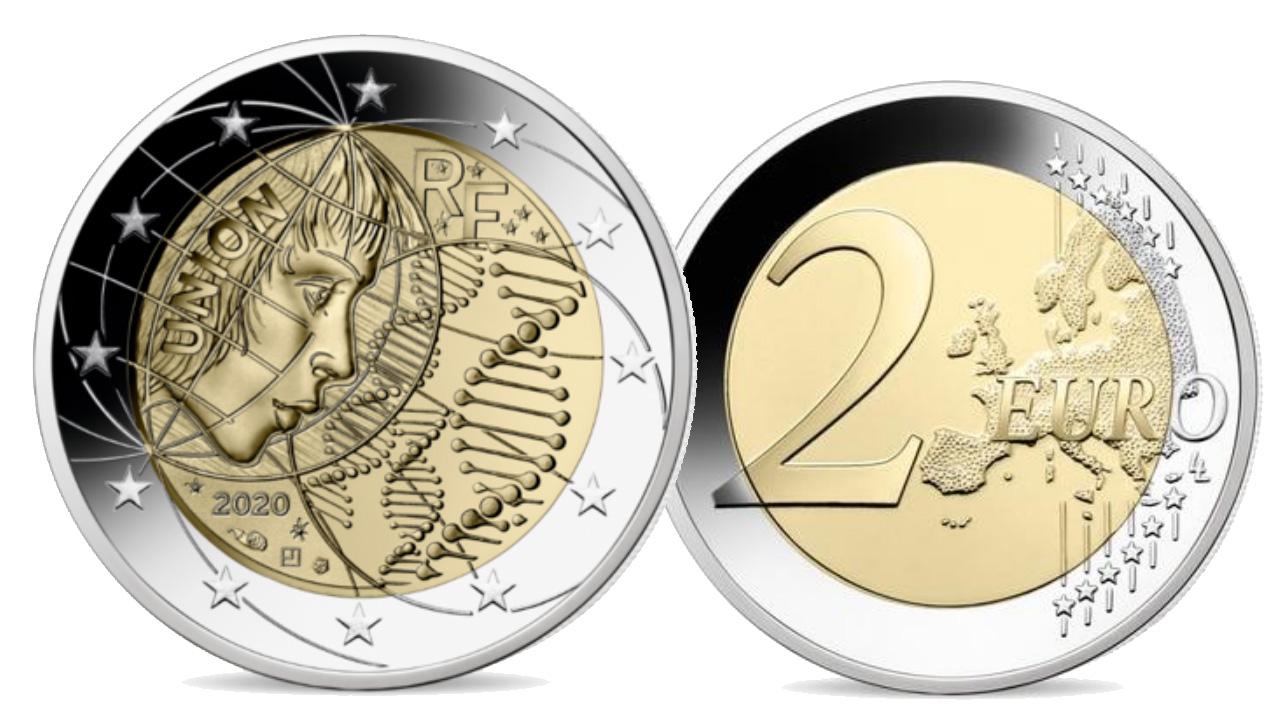 """Image de la nouvelle pièce de 2 euro commémorative """"Recherche Médicale"""" 2020"""
